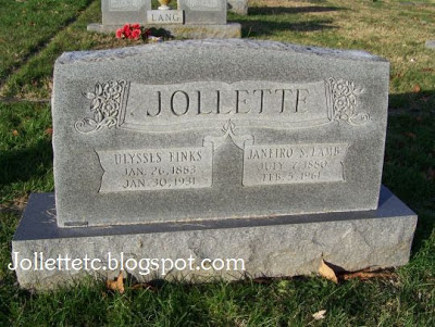 Ulysses Jollett, Sadie Jollett, tombstone Coverstone Cemetery, Shenandoah, Virginia
