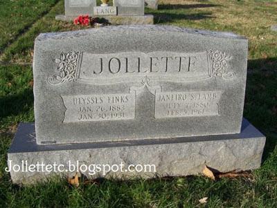 Ulysses Jollett, Sadie Jollett, tombstone Coverstone Cemetery, Shenandoah, Virginia
