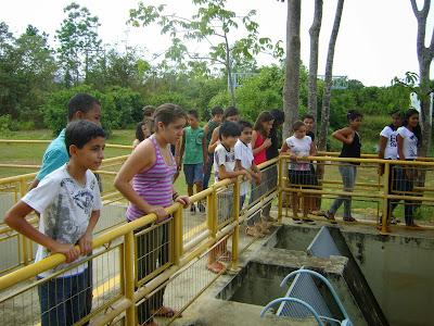 Alunos do 6º ano  da Escola Estadual Santa Fé em visita à Estação de Tratamento de Água (ETA).