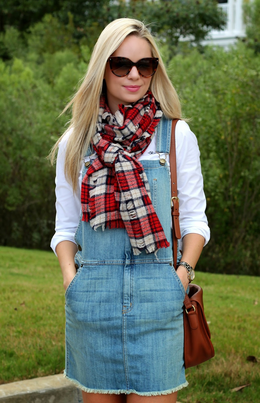 plaid scarf, plaid, brown bag, blonde, overalls, skirt
