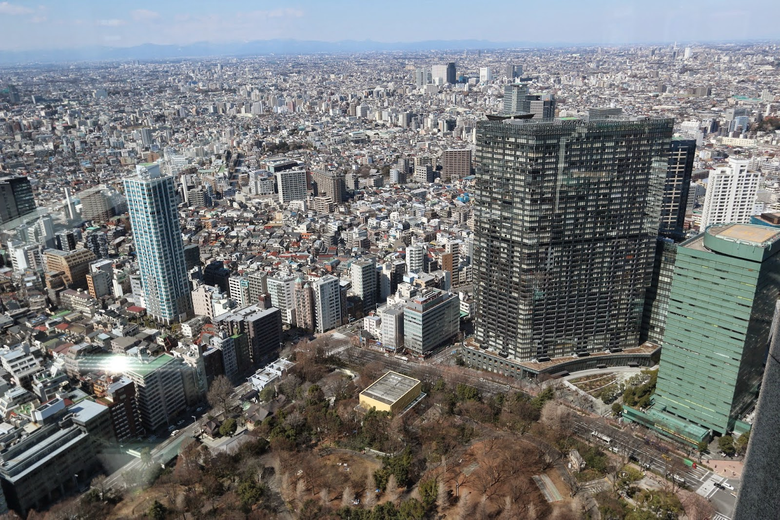 A compact and high density of Tokyo downtown from the observation deck at Tokyo Metropolitan Government Building in Shinjuku, Japan