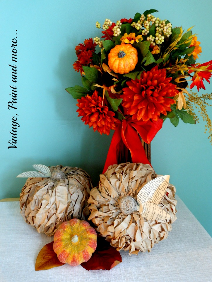 Vintage, Paint and more... Lunch bag pumpkins lend a rustic look with their texture