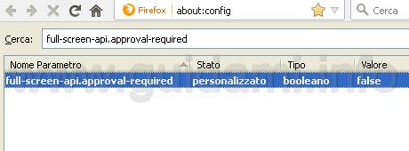 Firefox disattivare notifica è ora a schermo intero