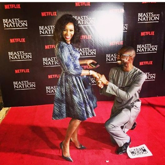 Okonjo-Iweala's Son Kneels To 'Propose' To Genevieve Nnaji On The Red Carpet