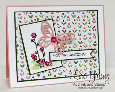Cottage Garden, Stampin' Up! stamp set with pink butterfly. Handmade card by Lisa Young, Add Ink and Stamp