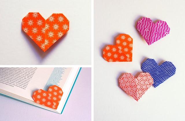 Segnalibro origami a forma di cuore | Corner heart bookmark origami