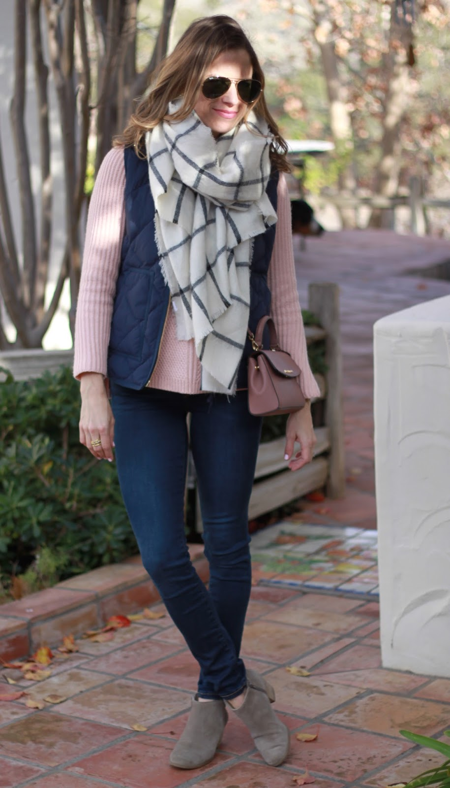 oversized grid scarf