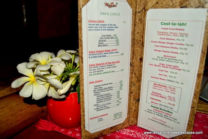 KaLui Restaurant Palawan menu