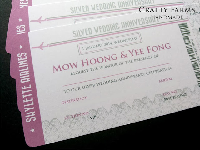 Silver Purple Wedding Anniversary Boarding Pass Invitation Card budget