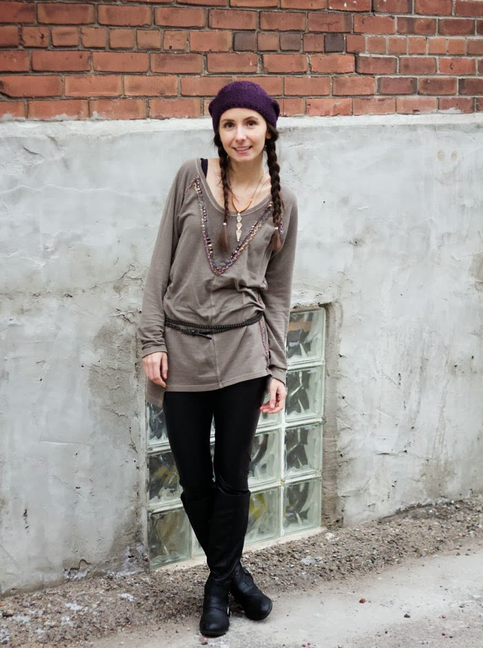 beanie-boho-tunic- pleather-pants