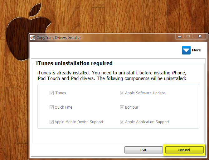 completely uninstall itunes using copytrans drivers installer
