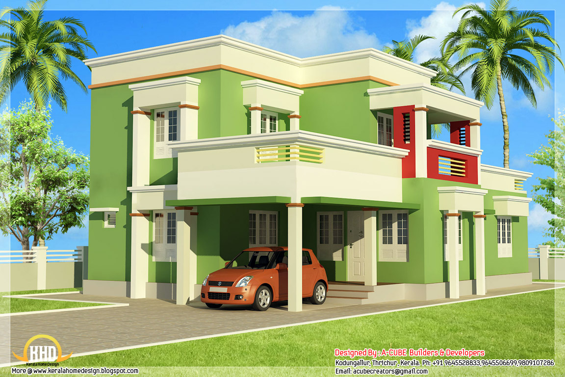 Simple 3 bedroom flat roof home design 1879 for Indian simple house design
