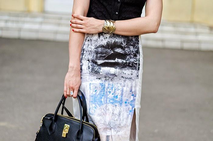 lace shirt H&M trend landscape skirt H&M Topshop gold bracelet Nowistyle bag