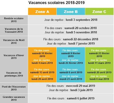 Vancances Scolaires 2018-2019