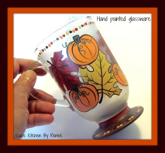 Hand painted autumn pumpkin and leaves coffee mug