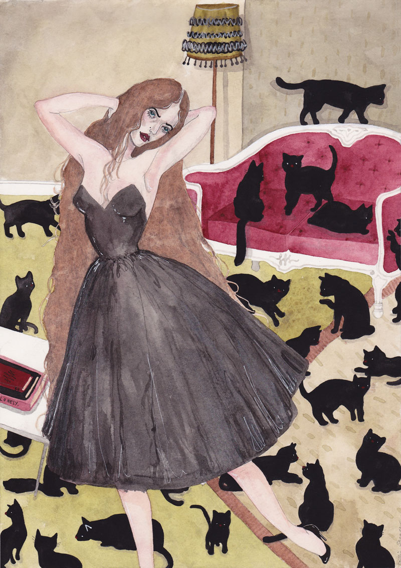 Caitlin shearer self portrait as a crazy cat lady for Crazy mural lady