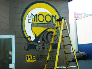 moon pub brewery traditional signage dobell designs canada wall mural hand painted with brushes