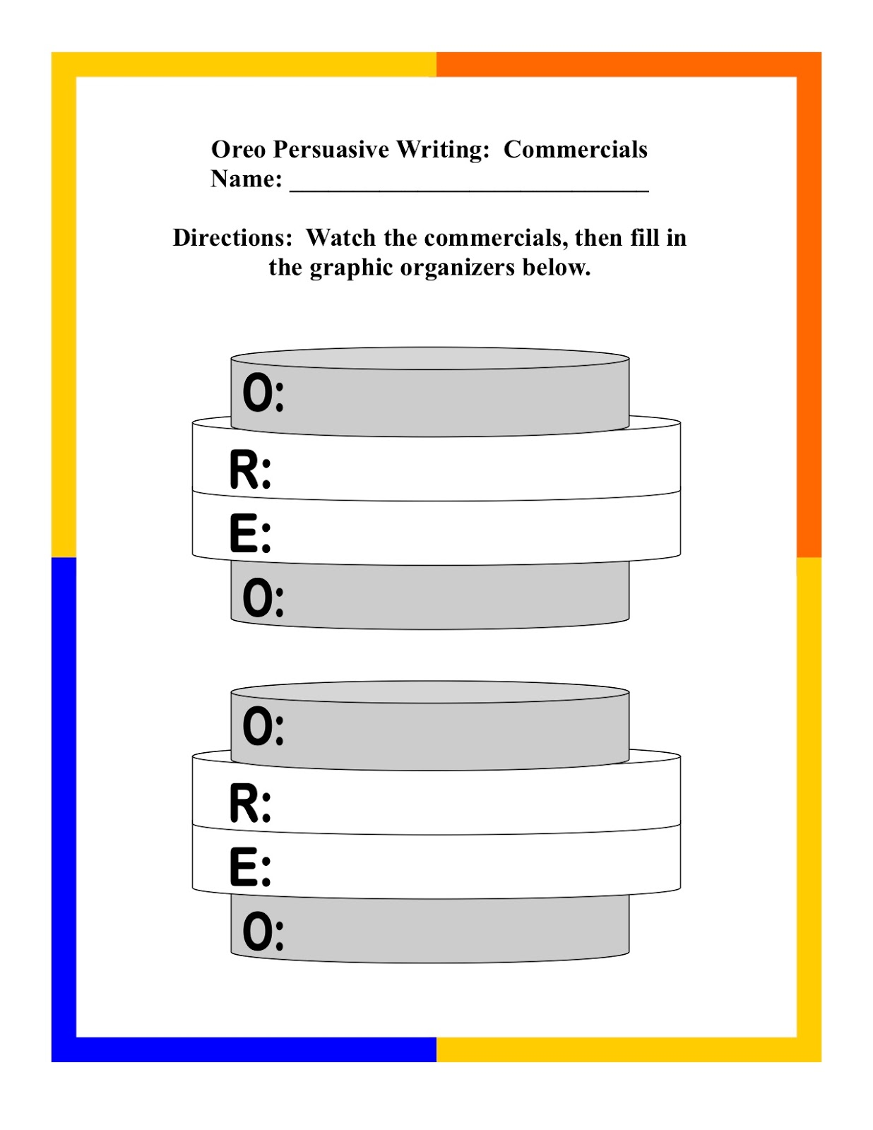 Oreo Persuasive Writing Graphic Organizer