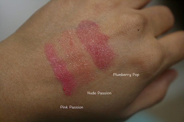 bareMinerals Precious Gems Pop of Passion Lip Oil Balm Trio Pink Passion, Nude Passion, Plumberry Pop Swatches
