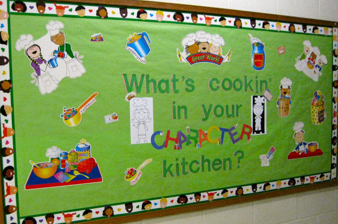 Cafeteria ideas cafeteria bulletin boards school for Kitchen cork board ideas