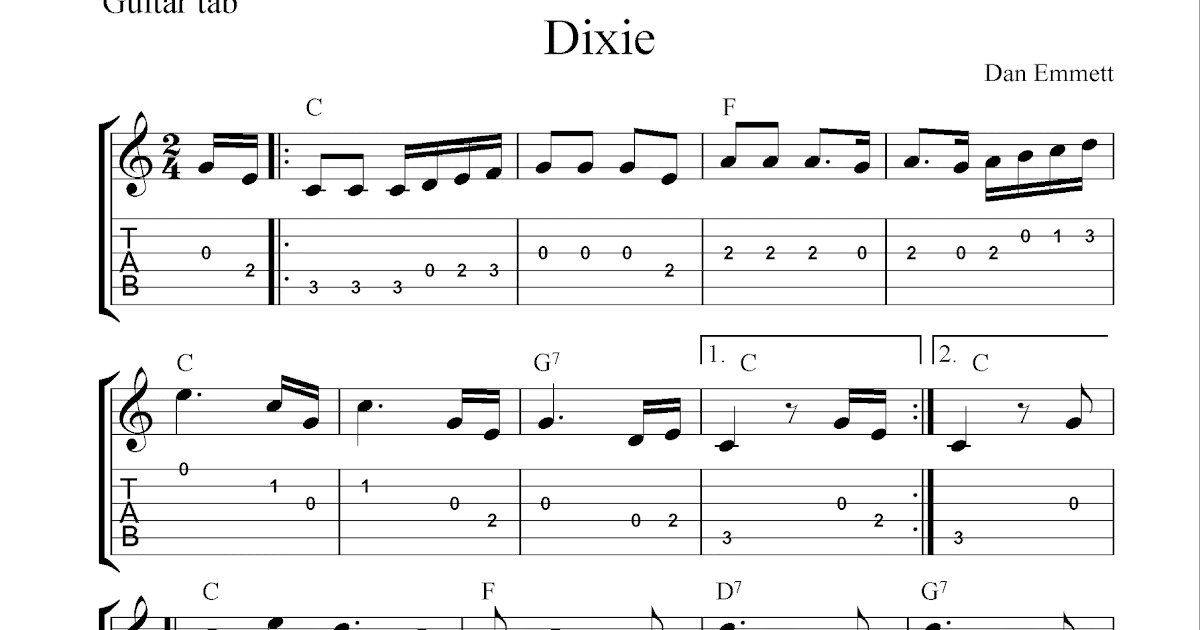 Free guitar tab sheet music, Dixie