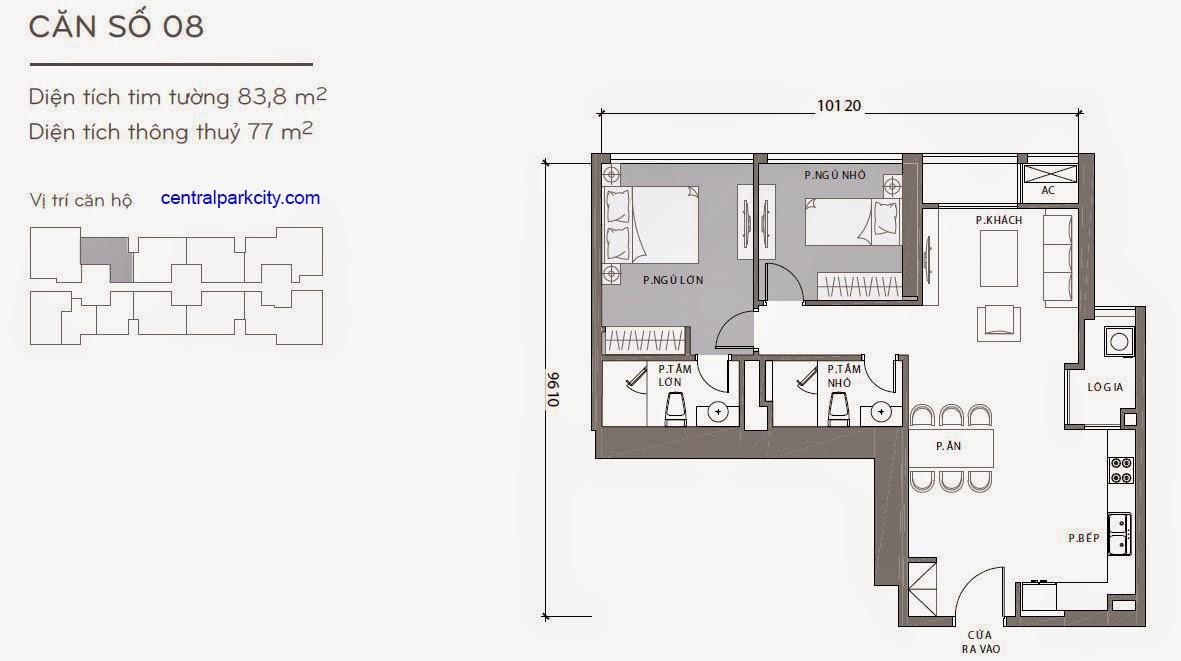 Căn hộ Landmark 1 - kiểu nhà số 08 - 83.8m2 - 2PN