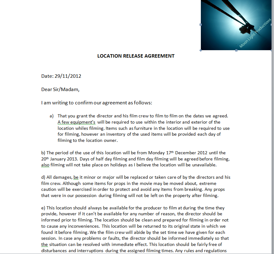 Location Release Agreement Gallery Agreement Letter Format
