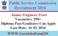 PUBLIC SERVICE COMMISSION OF TRIPURA RECRUITMENT 2016 FOR 290+ JUNIOR ENGINEER POSTS