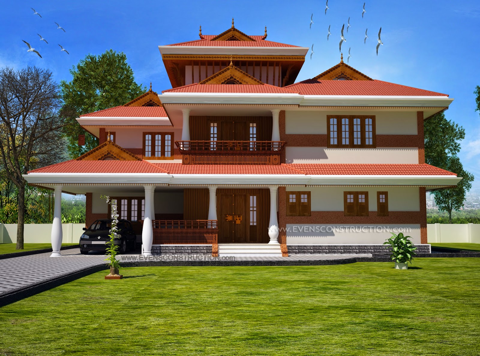 Traditional style kerala house home for Conventional style home