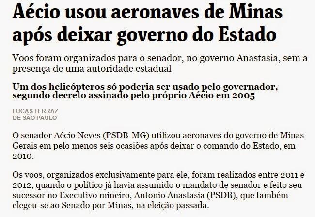 Aécio Neves usou aeronaves de Minas após deixar governo do Estado