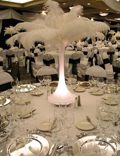 Glamorous 1920's style ostrich feather centrepieces