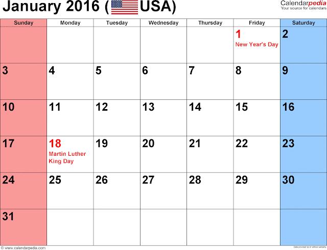 January 2016 Blank Calendar