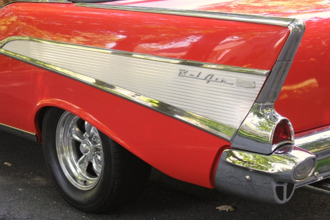 Back end of 1957 Chevy in red