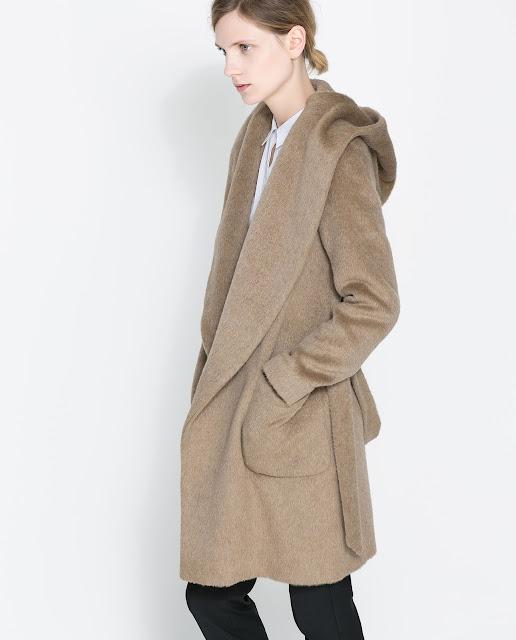 camel coat with hood