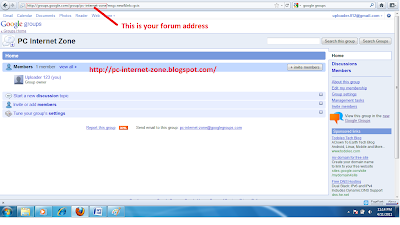 Google Groups Forum Homepage for blogspot/blogger blog