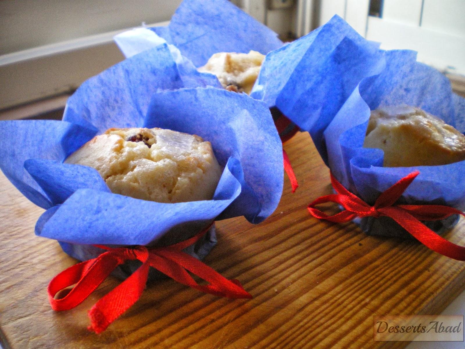 Muffins de arándanos y naranja confitada