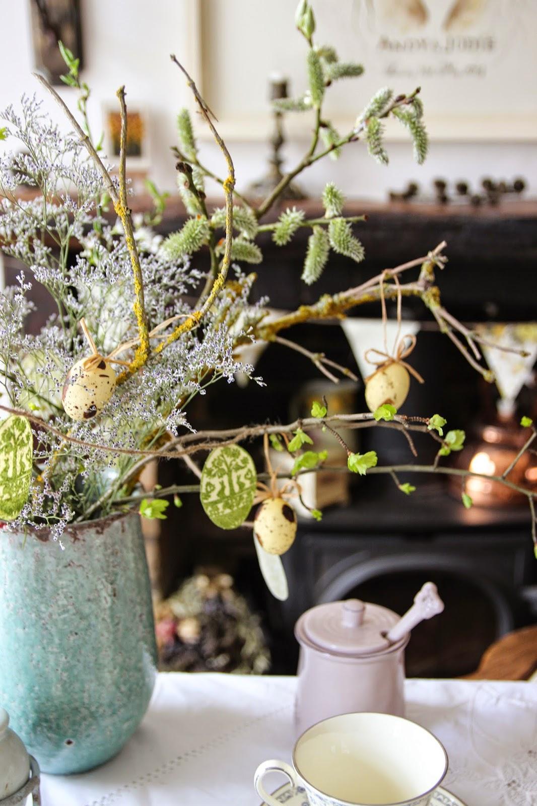 Easter egg bunting on wild flower arrangement