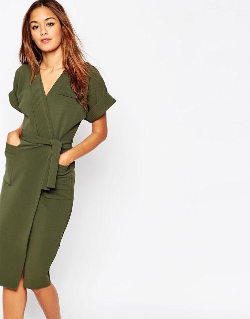 khaki wrap dress, khaki midi dress, asos khaki dress,