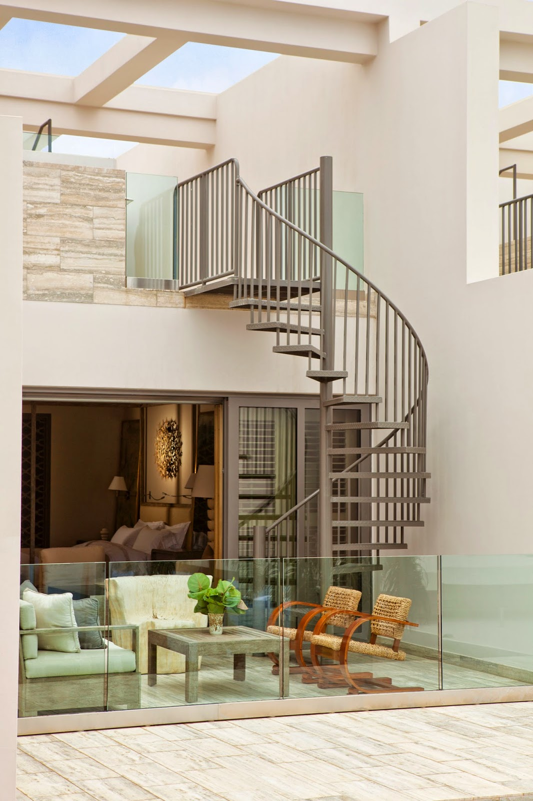 spiral stairs to the roof deck