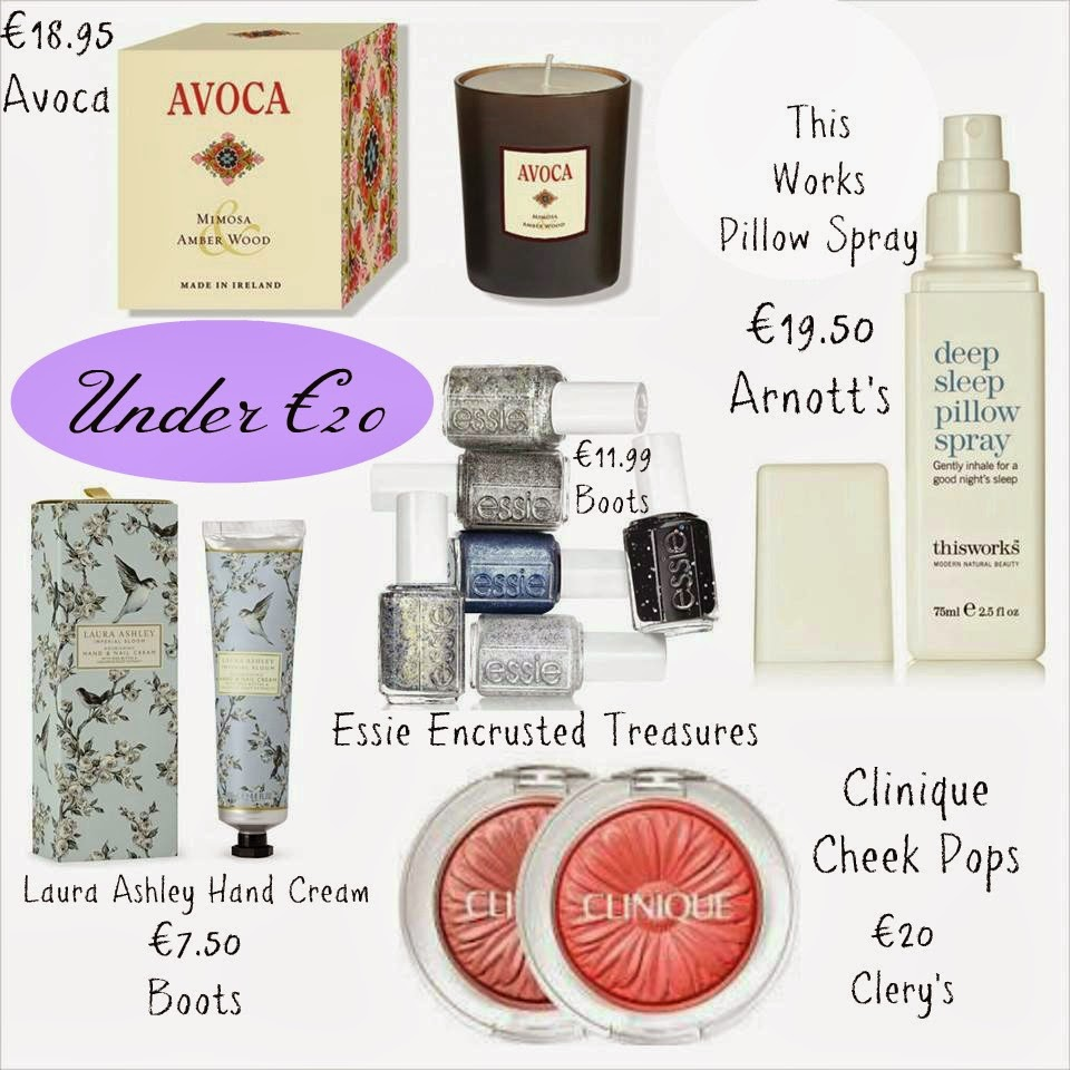 Mothers Day Under €20 - Clinique Cheek pops - Laura Ashley Hand Cream - Avoca Candle - This Works Pillow Spray - Essie Encrusted Treasures
