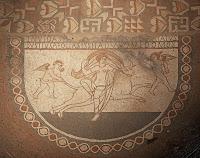 Mosaico procedente de la Villa romana de Lullingstone en Farningham (Kent, Gran Bretaña) (detalle)