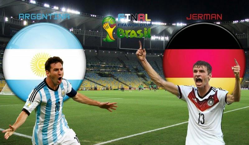 Partai Jerman Dengan Argentina Di Partai Utama World Cup, Senin tanggal 14 Juli 2014