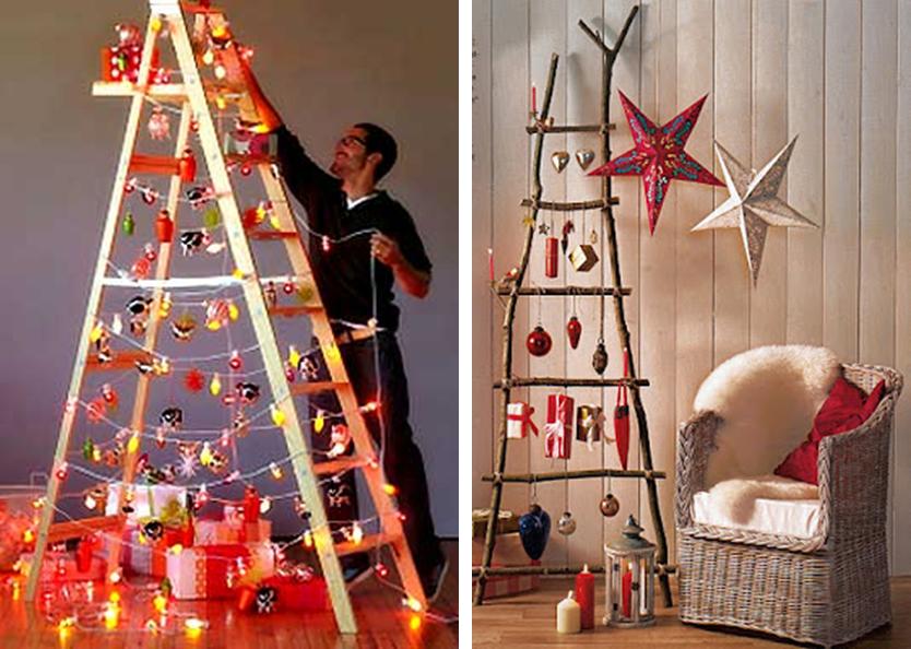 Decoraci n f cil 3 ideas para reutilizar escaleras de - Escaleras decoradas en navidad ...