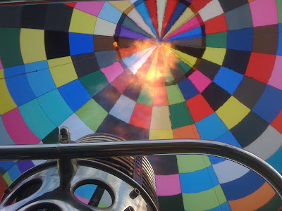 hot air balloon, inside the canopy, burner ignited