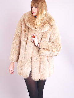 Vintage light honey brown Christian Dior fox fur coat
