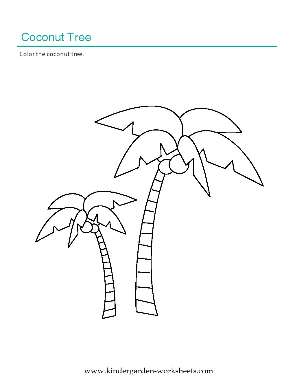 Kindergarten Worksheets: Printable Coloring Worksheets - Coconut Tree