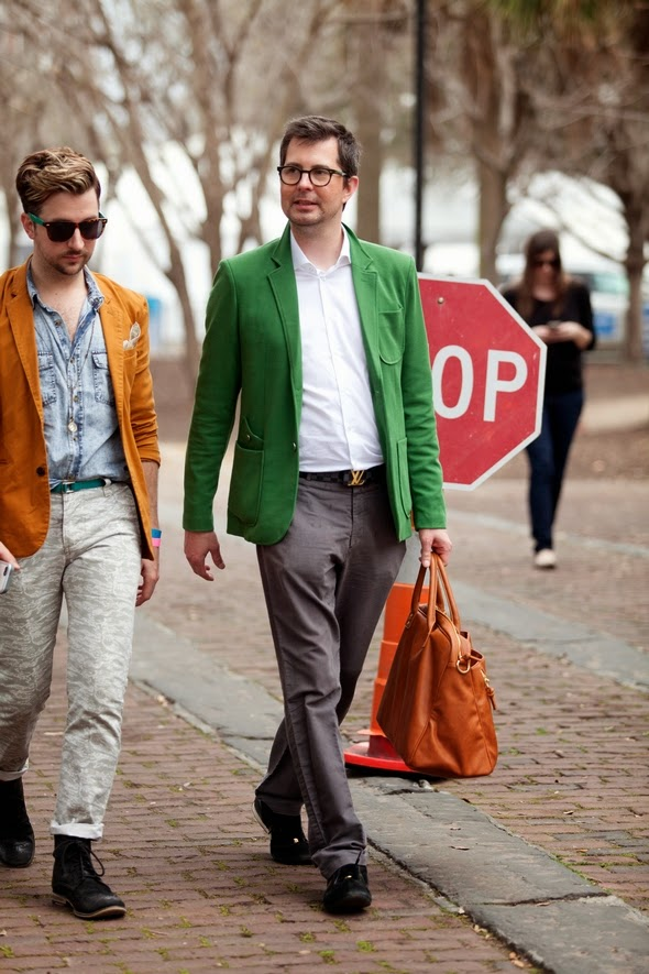 Guys walking together charleston fashion week denim shirt lv belt buckle red sports coat mustard sport coat mens street style