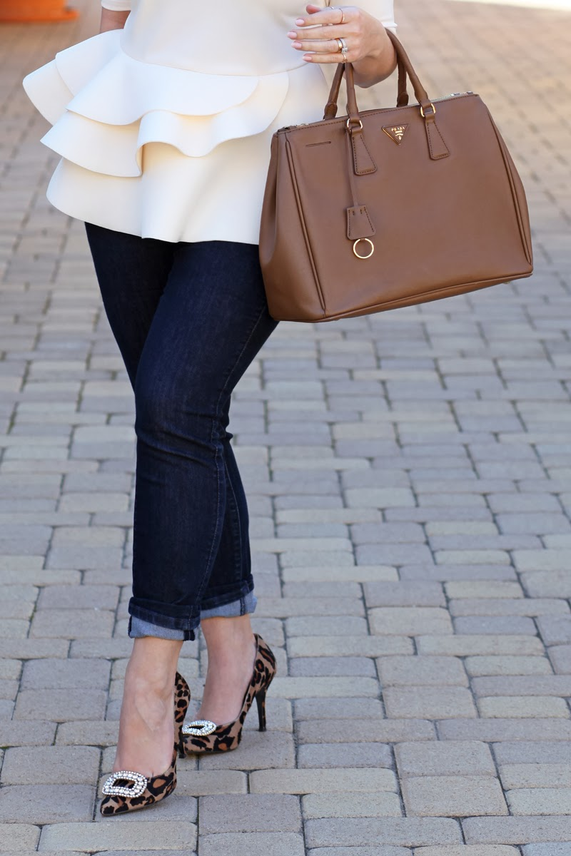 white-peplum-top-prada-saffiano-bag-leopard-pumps-shoelery-shoe-clips-fashion-blogger-2014-fashion-trends