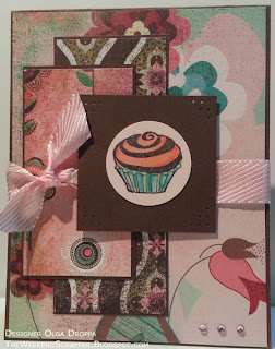 Handmade card with fancy, adore and infuse pattern papers from basic grey and embossed inkadinkado cupcake