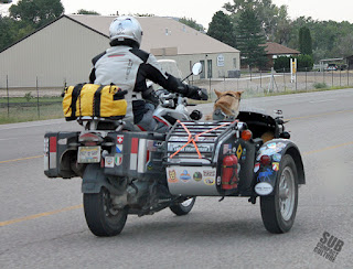 BMW motorcycle with sidecar and dog